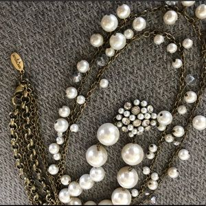 3 strand chain and pearl necklace